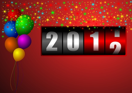 newyear night: new year illustration with stars and balloons and counter Stock Photo