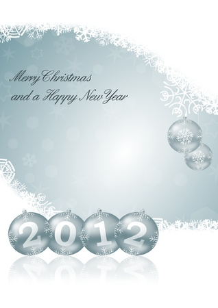Merry Christmas and a Happy New Year illustration with snowflakes and christmas balls Stock Illustration - 11222037