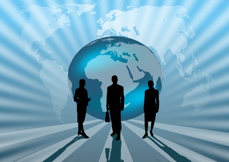business people international on blue globe illustration illustration