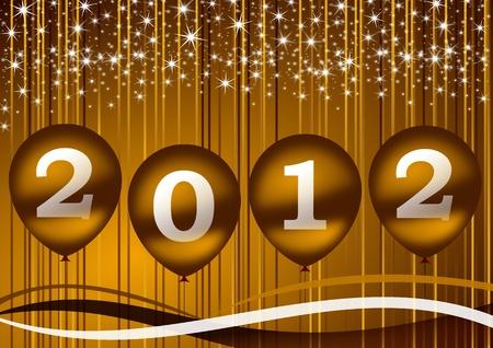 풍선을 가진 2012 년 새 해 그림