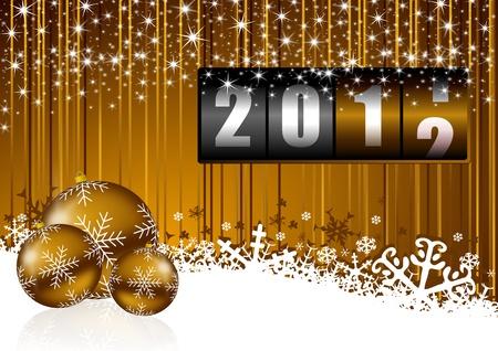 크리스마스 공 및 카운터와 새 해 배경 스톡 사진