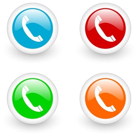 telephone: icono de tel�fono brillante Foto de archivo