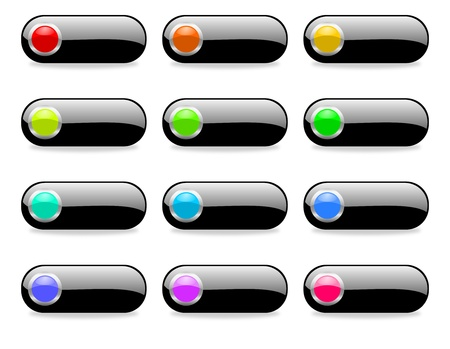 colorful web buttons set with shadows Stock Photo - 12773745