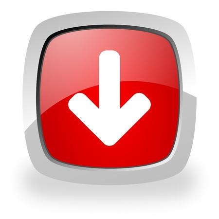 move arrow icon: brillante icono rojo cuadrado con sombra sobre fondo blanco Foto de archivo