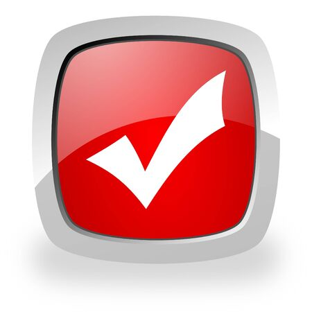 acceptation: glossy red square icon with shadow on white background