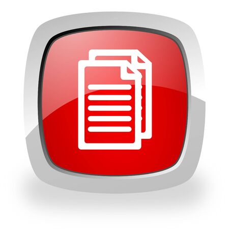 pdf: glossy red square icon with shadow on white background