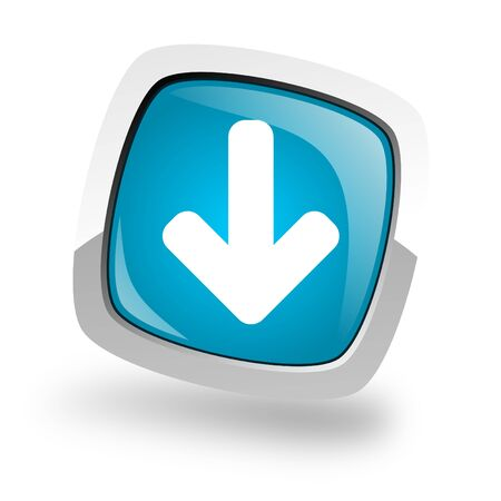 blue button: download icon Stock Photo