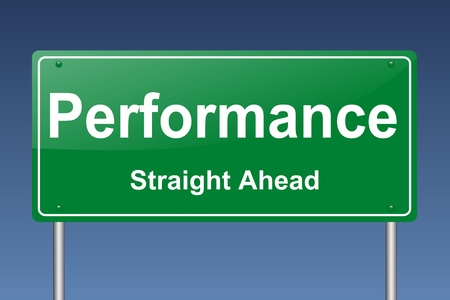 succes: performance traffic sign Stock Photo