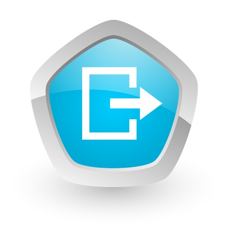 3d blue icon on white background with shadow and silver border photo