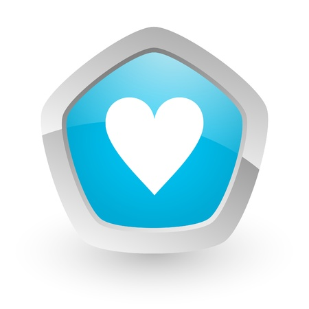 favorite colour: 3d blue icon on white background with shadow and silver border