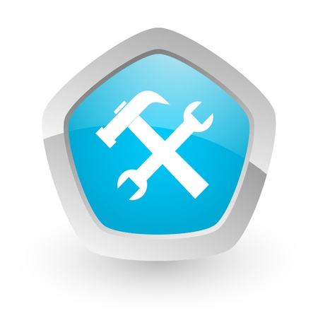 phone button: 3d blue icon on white background with shadow and silver border