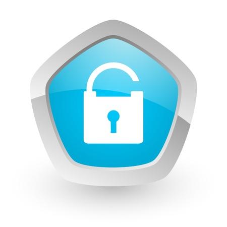 그림자와 실버 테두리와 흰색 배경에 3d 파란색 아이콘