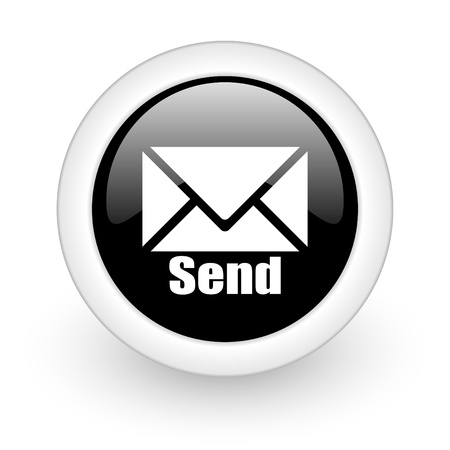 mail icon: black round 3d icon