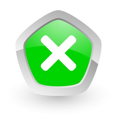 deny: green pantagon icon Stock Photo
