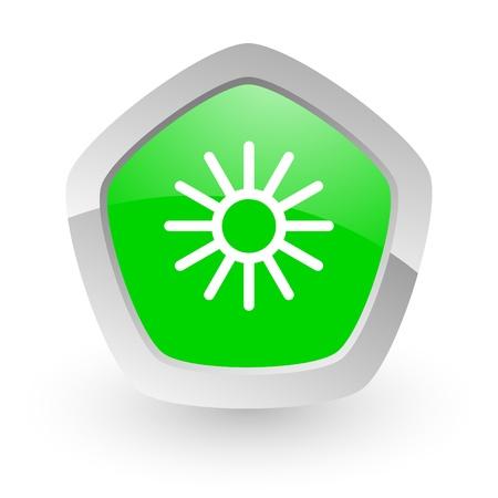 wather: green pantagon icon Stock Photo