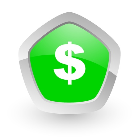 green pantagon icon Stock Photo - 14049131