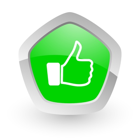 green pantagon icon Stock Photo - 14049136