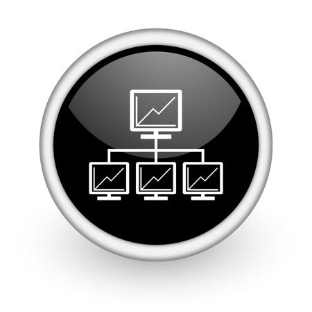 black round icon on white background with shadow Zdjęcie Seryjne