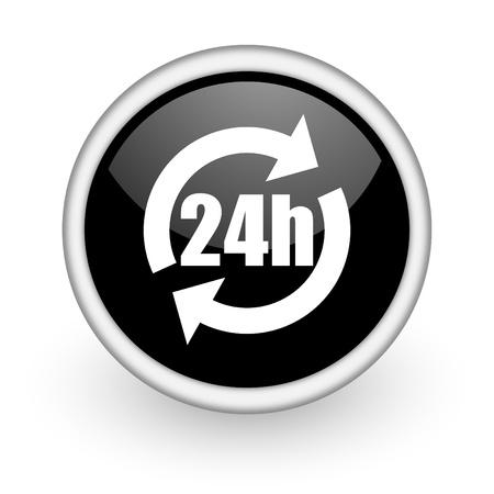 black round icon on white background with shadow Stock Photo - 14358754