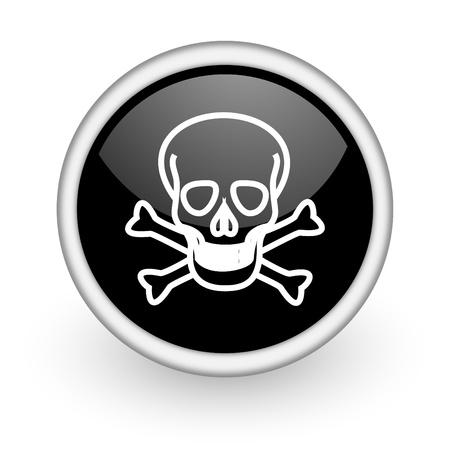 black round icon on white background with shadow Stock Photo