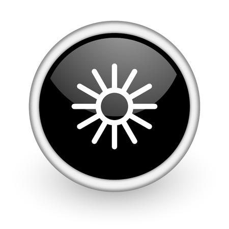 wather: black round icon on white background with shadow Stock Photo