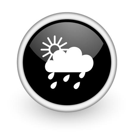 black round icon on white background with shadow photo