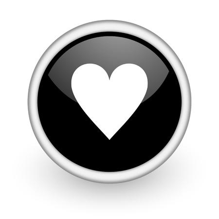 favorite colour: black round icon on white background with shadow Stock Photo