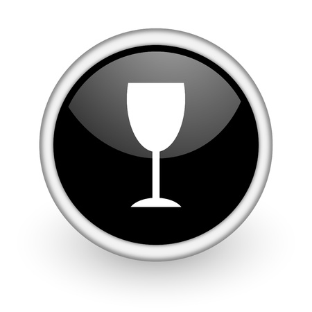 champain: black round icon on white background with shadow Stock Photo
