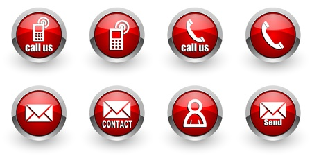 mail us: contact icons set Stock Photo