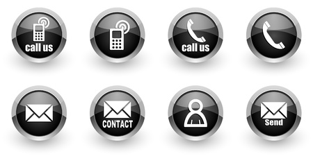 contact icon: contact icons set Stock Photo