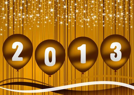 2013 new year illustration with golden balloons illustration