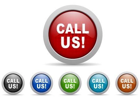 call us icons set Stock Photo