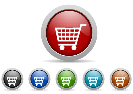 chrome cart: shopping cart icons set Stock Photo
