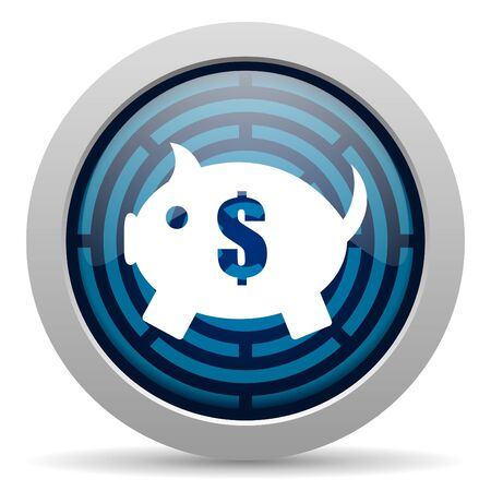 set of money: piggy bank icon