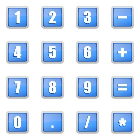 algebra calculator: numeric icons set Stock Photo