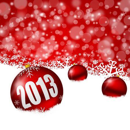 눈송이와 크리스마스 공 빨간색 새로운 년 배경 스톡 사진