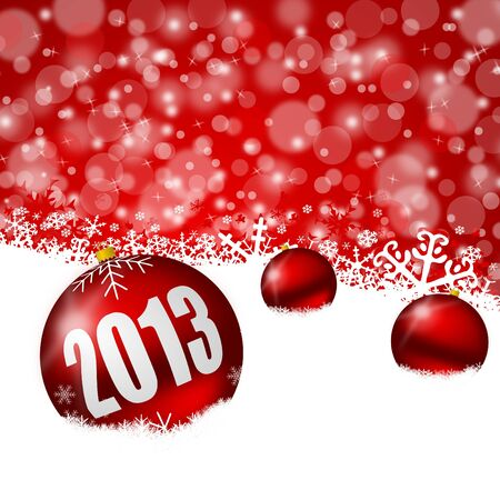 red new years background with snowflakes and christmas balls photo