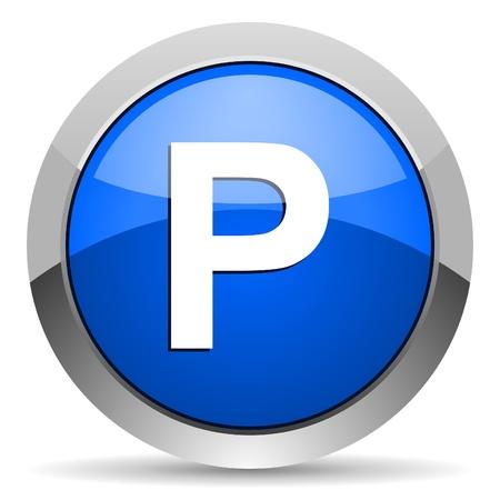 se�al parking: parque icono Foto de archivo