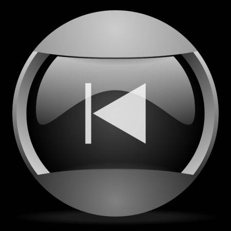 prev round gray web icon on black background photo