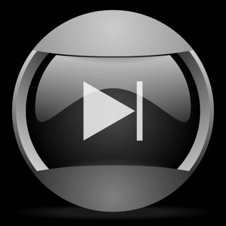 next round gray web icon on black background photo