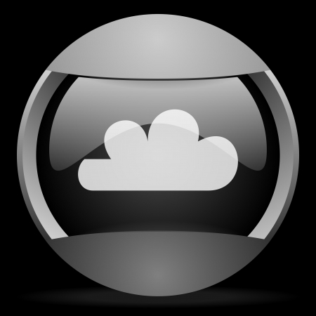 cloud round gray web icon on black background photo