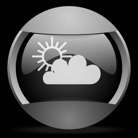 sun and cloud round gray web icon on black background photo
