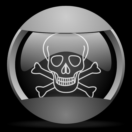 skull round gray web icon on black background Stock Photo - 16315028