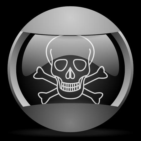 skull round gray web icon on black background Stock Photo - 16315028
