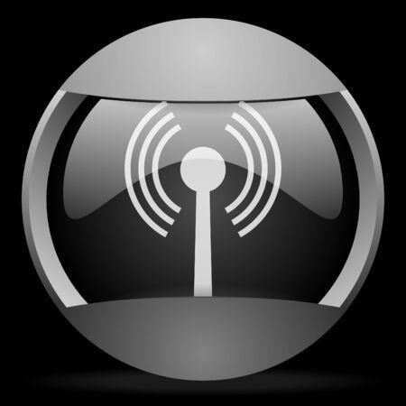 wifi round gray web icon on black background Stock Photo - 16314754