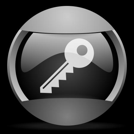 key round gray web icon on black background Stock Photo - 16314575