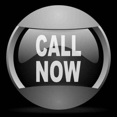 call now round gray web icon on black background Stock Photo - 16314691