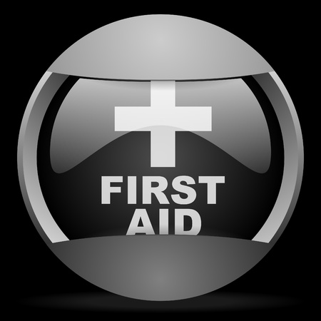 first aid round gray web icon on black background Stock Photo - 16314572