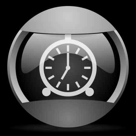 alarm clock round gray web icon on black background photo