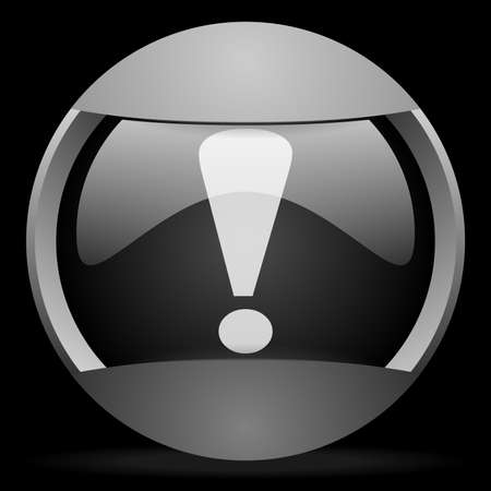 exclamation sign round gray web icon on black background Stock Photo - 16314445